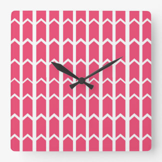 Hot Pink Fence Panel Square Wall Clock