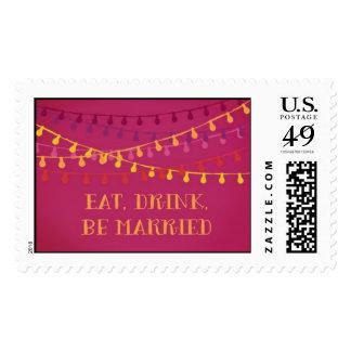 Hot Pink Fiesta String Light Wedding Postal Stamp