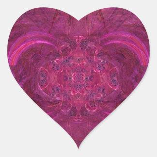 Hot Pink Flame Spiral Fractal Abstract Art Heart Sticker