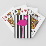 "Hot Pink Flamingo on Black and White Stripe Playing Cards<br><div class=""desc"">Bold and striking design featuring a hot pink flamingo on a black and white striped background</div>"