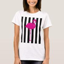 Hot Pink Flamingo on Black and White Stripe T-Shirt