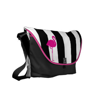 Hot Pink Flamingo on Black and White Stripes Courier Bag