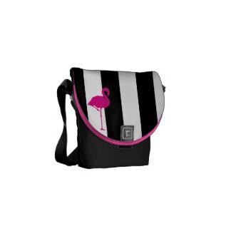 Hot Pink Flamingo on Black and White Stripes Messenger Bag
