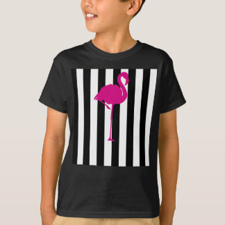 Hot Pink Flamingo on Black and White Stripes T-Shirt