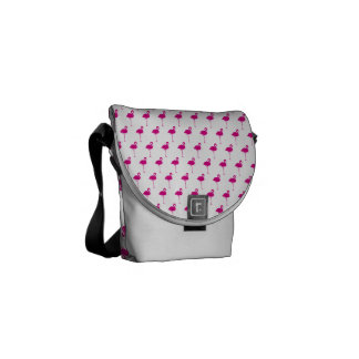 Hot Pink Flamingo Pattern Courier Bag