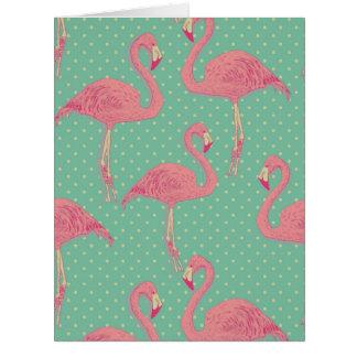 Hot pink,flamingo,polka dot,teal,peach,hipster,fun card