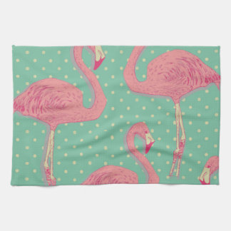 Hot pink,flamingo,polka dot,teal,peach,hipster,fun kitchen towel