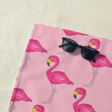 Beach Themed Hot Pink Flamingo Tropical Island Bird Flamingoes Beach Towel