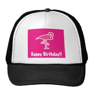 Hot pink flamingo trucker hat