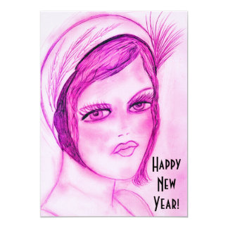 Hot Pink Flapper Girl New Year Invites
