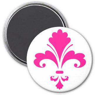 Hot Pink Fleur-de-lis 3 Inch Round Magnet