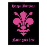 Hot pink fleur de lis symbol Happy Birthday Card