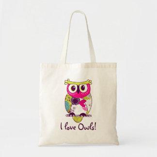 Hot Pink Floral Big Eyes Owl I Love Owls Tote Bag