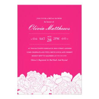 Hot Pink Floral Bridal Shower Invitation
