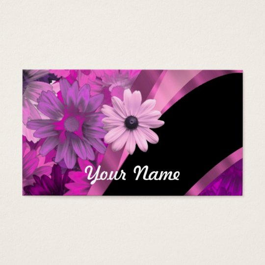 Hot pink floral business card
