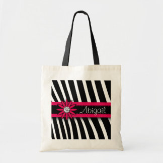 Hot Pink Floral Gem Zebra Pattern Bags