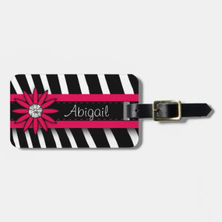Hot Pink Floral Gem &  Zebra Pattern Bag Tag