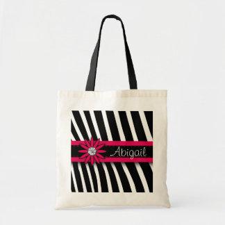 Hot Pink Floral Gem & Zebra Pattern Budget Tote Bag