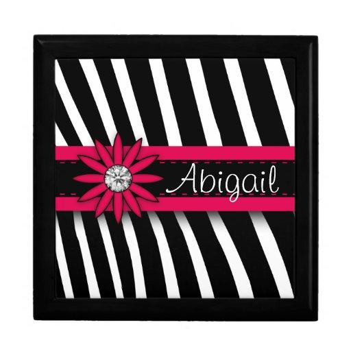 Hot Pink Floral Gem & Zebra Pattern Gift Box