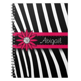 Hot Pink Floral Gem & Zebra Pattern Notebook