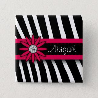 Hot Pink Floral Gem & Zebra Pattern Pinback Button