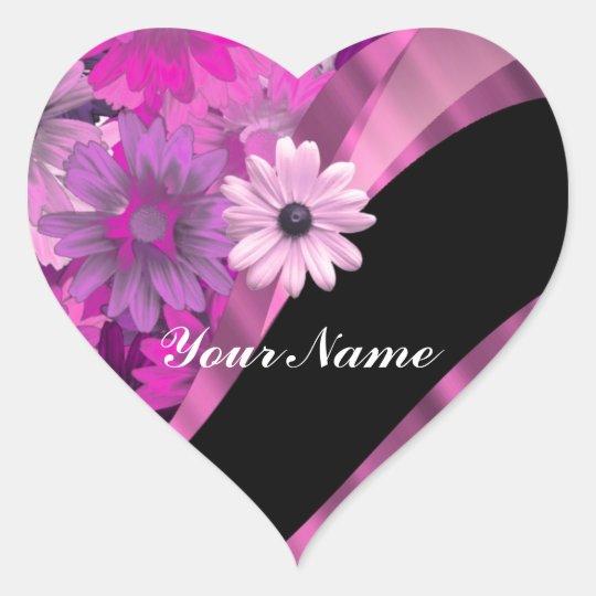 Hot pink floral heart sticker