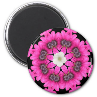 Hot Pink Floral Kaleidoscope 2 Inch Round Magnet