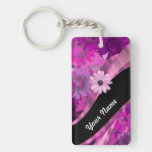 Hot pink floral key chains