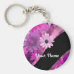Hot pink floral keychain