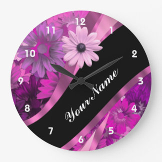 Hot pink floral large clock