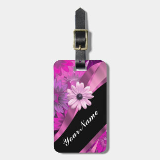 Hot pink floral luggage tag