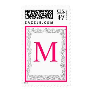 Hot Pink Floral Monogram Wedding Postage