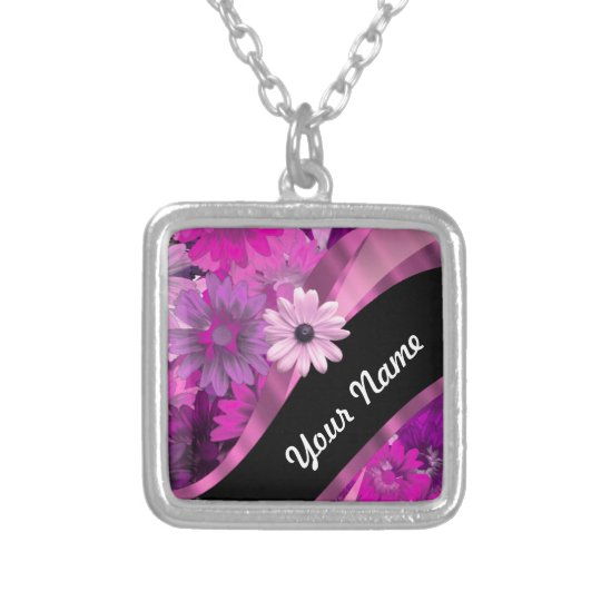 Hot pink floral silver plated necklace