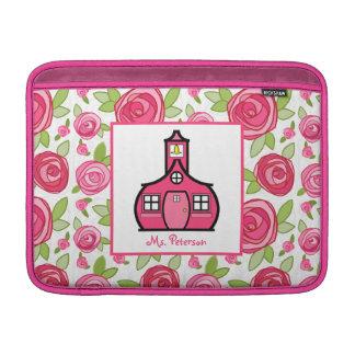 Hot Pink Floral Teacher Macbook Air Sleeve