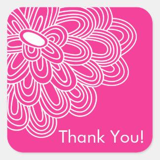 Hot Pink Floral Thank You Bridal Shower Favor Square Sticker