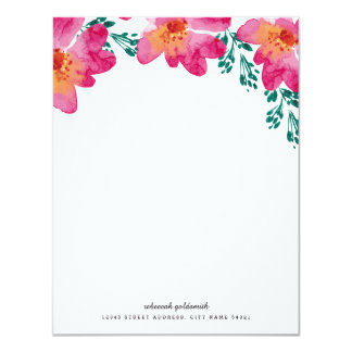 Hot Pink Floral Watercolor Custom Flat Note Card