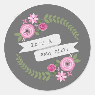 Hot Pink Floral Wreath & Banner Baby Shower Classic Round Sticker