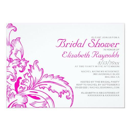 Hot Pink Flourish Bridal Shower Invitations