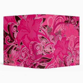 Hot Pink Flourish Flowers Patterned Binder