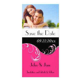 "Hot Pink Flourish/photo  ""Save the Date"" Card"