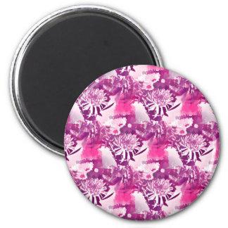 Hot Pink Flower Bouquet in Vase Collage 2 Inch Round Magnet