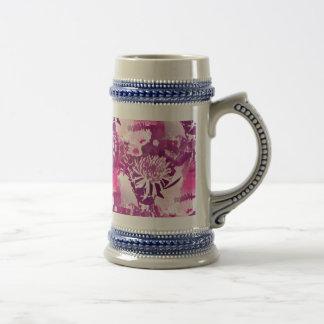 Hot Pink Flower Bouquet in Vase Collage Beer Stein