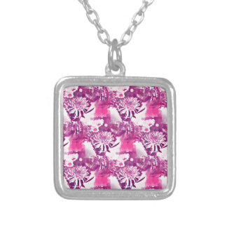Hot Pink Flower Bouquet in Vase Collage Necklaces