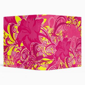 Hot Pink Flower Flourishes Patterned Binder