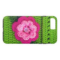 Hot Pink Flower Light Green Crochet Print on Tough iPhone 8 Plus/7 Plus Case