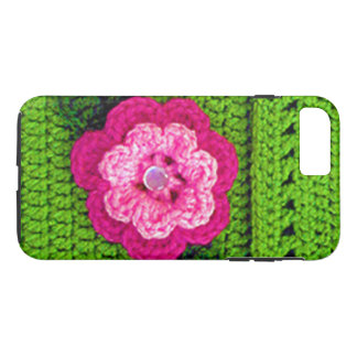 Hot Pink Flower Light Green Crochet Print on Tough iPhone 8 Plus/7 Plus Case