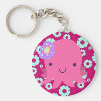 Hot Pink Flower Octopus Keychain