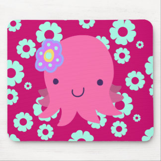 Hot Pink Flower Octopus Mouse Pad