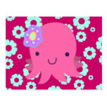 Hot Pink Flower Octopus Postcards