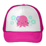 Hot Pink Flower Octopus Trucker Hat